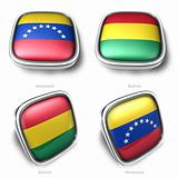 3d Venezuela and Bolivia flag button