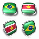 3d Brazil and Suriname flag button