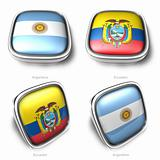 3d Argentina and Ecuador flag button