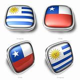 3d Uruguay and Chile flag button
