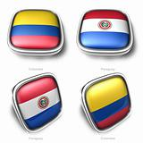 3d Colombia and Paraguay flag button
