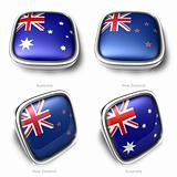 3d Australia and NewZealand flag button