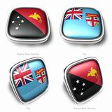 3d Papua New Guinea and Fiji flag button