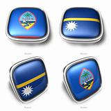 3d Guam and Nauru flag button