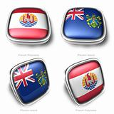 3d French Polynesia and Pitcairn Islands flag button