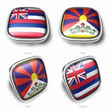 3d Hawaii and Tibet flag button