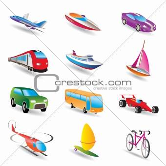 different kind of transportation and travel icons