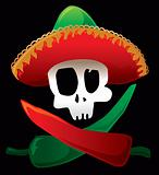 Mexican Skull And Peppers