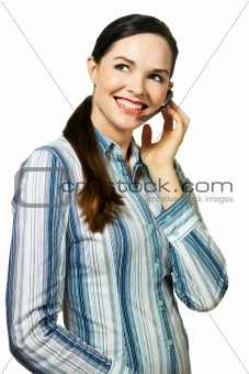 Portrait of  an attractive customer service woman