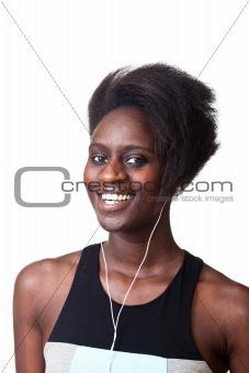 Beautiful Black Woman Listening Music