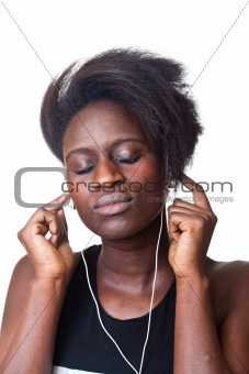 Beautiful Black Woman Listening Music