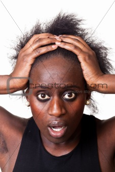 Beautiful Black Woman with Surprised Face