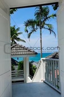 Beach landscape through the door