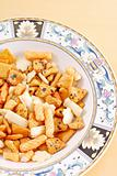 Asian Rice Crackers Snack in Bowl