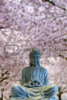 Sitting Full Body Buddha with Cherry Blossom Trees