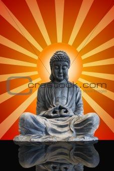 Sitting Full Body Bronze Buddha with Sun Rays