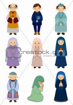 cartoon priest and nun icon