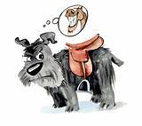 Dog with saddle