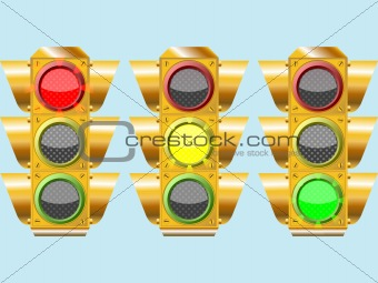 three different traffic lights