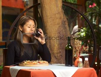 Beautiful Young Peruvian Woman Tasting Wine