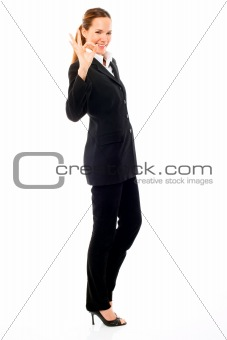 businesswoman with her hand indicating ok