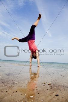 acrobatics on the beach.