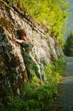 Beatiful girl near wall