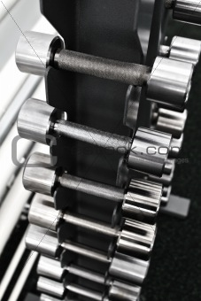 at the gym - barbells on a rack