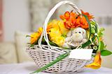 Bunch of flowers in a basket