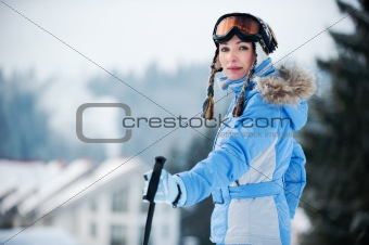 Portrait of a woman at a ski resort