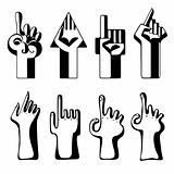 Set of hand pointers.