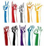Set of gesturing hands.