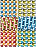 3d arrows seamless patterns set.