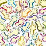 Finger pointing hands seamless pattern.