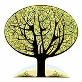 Graphic stylized tree icon.