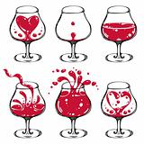 Wineglass illustrations set.
