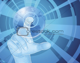 Hand selecting world globe concept background