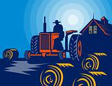 Farmer driving tractor hay bale farmhouse barn