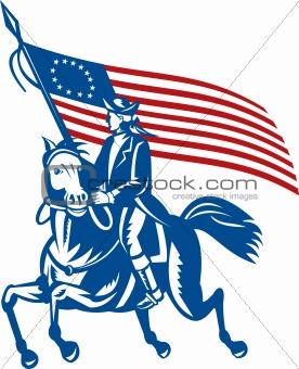 American revolutionary general riding horse Betsy Ross Flag