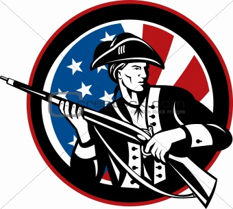 American revolutionary soldier with rifle and flag