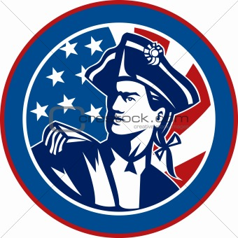 American revolutionary soldier with Stars and stripes flag