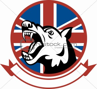 Angry Trained guard dog with british flag