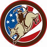 Rodeo cowboy bull riding