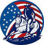 Rodeo cowboy horse cutting stars and stripes