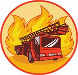 Fire truck or engine appliance with flames
