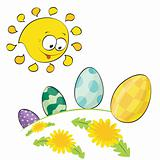 Cute little sun looking at easter eggs