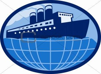 Ocean passenger  liner boat ship globe