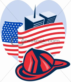 american flag with twin tower building firefighter helmet