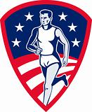 American Marathon athlete sports runner shield