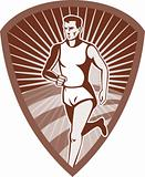 Marathon athlete sports runner shield